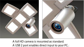 A full HD camera is mounted as standard. A USB 2 port enables direct input to your PC.