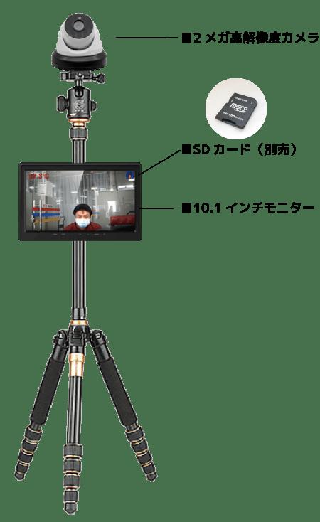 2メガ高解像度カメラ、SDカード(別売)、10.1インチモニター